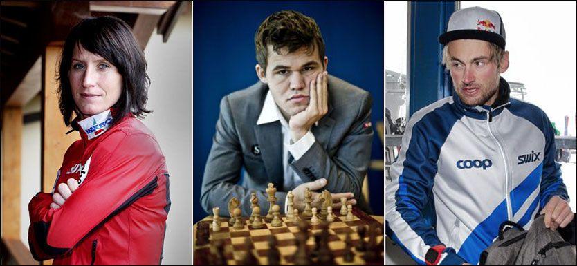 HELTER: Norges sjakkhelt Magnus Carlsen er snart like populær som langrennsheltene Marit Bjørgen og Petter Northug. Foto: NTB Scanpix/Afp/Mattis Sandblad