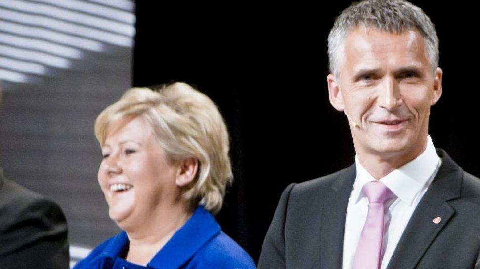 I SKATTEDEBATT: Erna Solberg og statsminister Jens Stoltenberg diskuterte skatt på NRK, men eksemplene Solberg ga til Stoltenberg stemmer ikke.