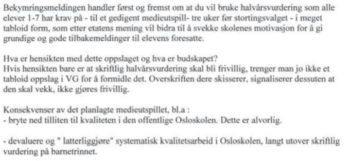 E-POST 2: Utdanningsdirektør Astrid Søgnens «skriftlige bekymringsmelding» sendt til skolebyråden nøyaktig to år etter e-posten der hun blant annet advarte mot å gjøre Osloprøvene frivillige.