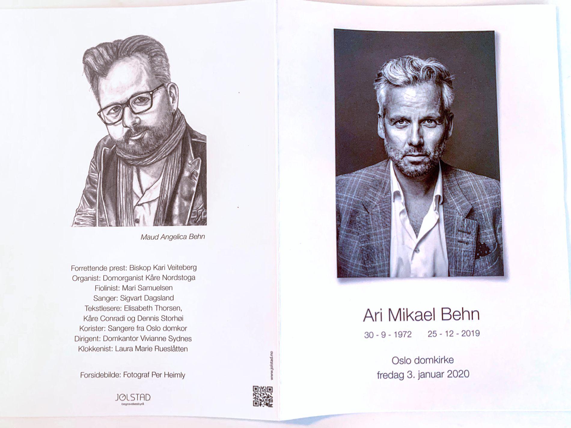 Programmet for Ari Mikael Behn sin bisettelse.