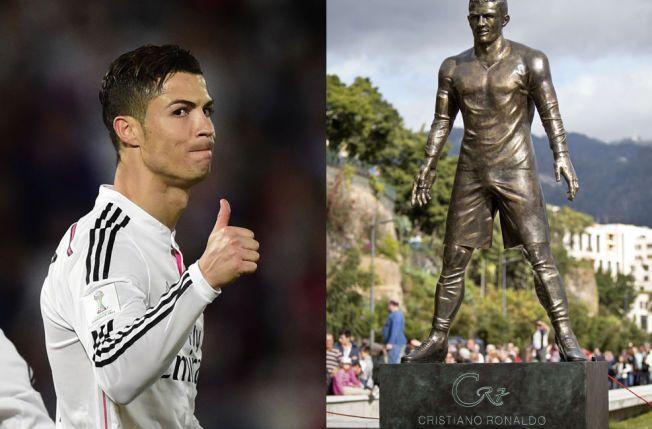 «CR7»: Bildet av Cristiano Ronaldo til venstre er tatt under VM-finalen for klubblag i går. Bildet til høyre viser statuen, med initialene CR og draktnummeret 7, som i dag ble presentert på Madeira.