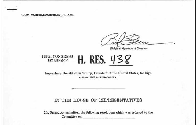 FREMMER RIKSRETT: Brad Shermann i Representantenes hus har lagt ut dokumentet for riksrett på sine hjemmesider.