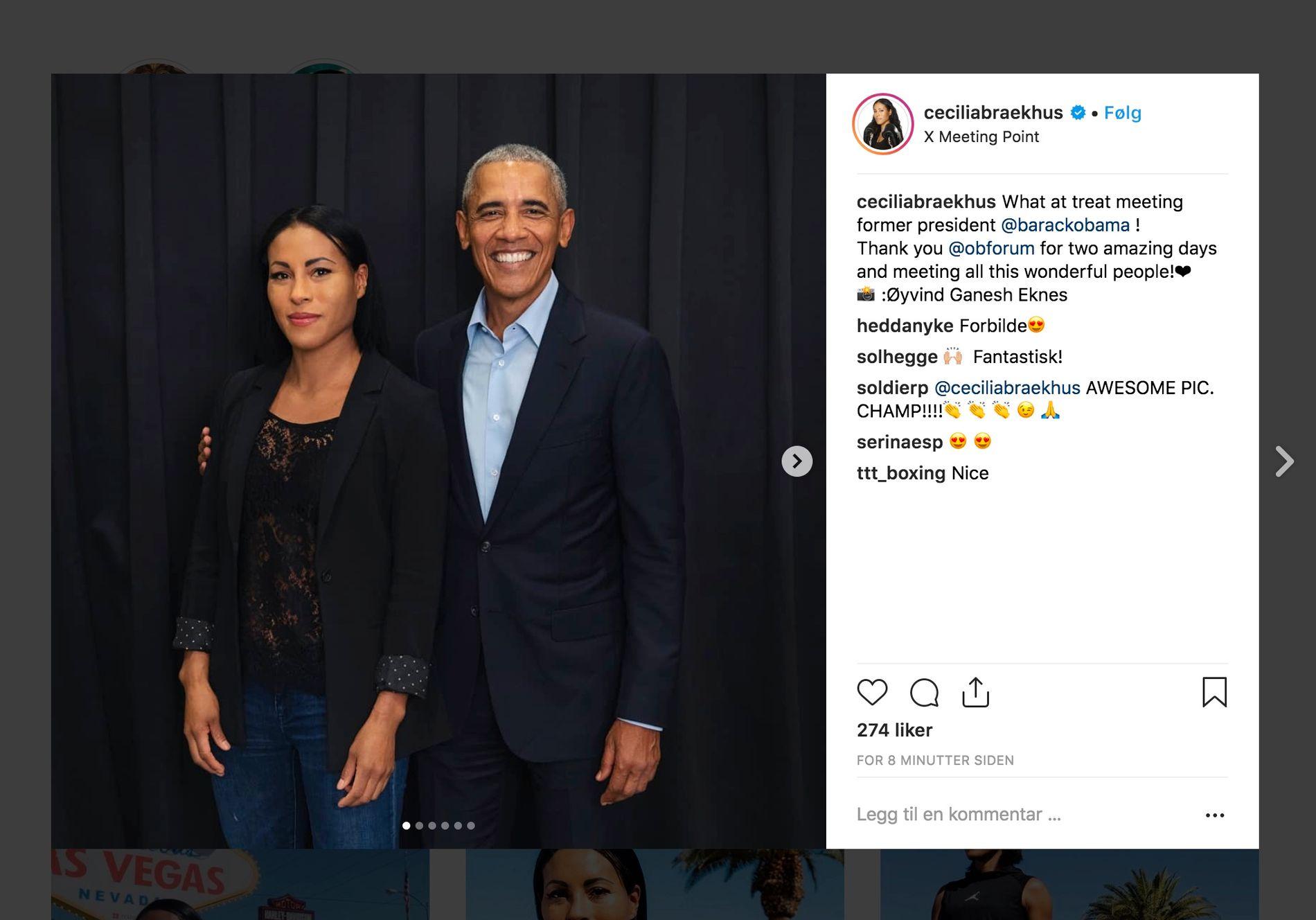 INSPIRERT: Den norske verdensmesteren i proffboksing fikk møte Barack Obama, men måtte erkjenne at hun faktisk er mer fan av konen hans, Michelle.