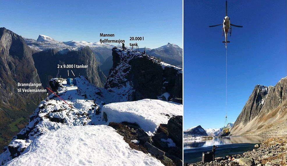 VANN VED MANNEN: I dette området er vannsystemet etablert som forsøksvis skal fremskynde ras fra Mannen. Til høyre: Nedsenking av vannpumpe i fjellvannet som blir kilden til vannsystemet.