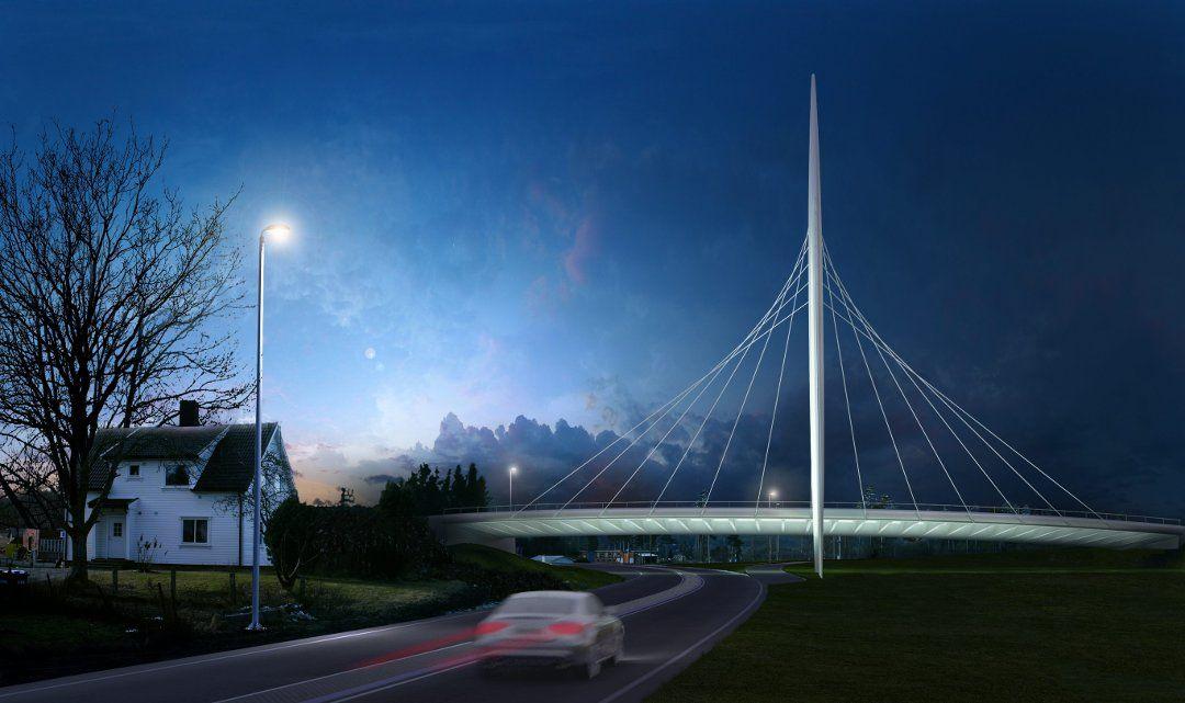 LANDEMERKE: Den nye broen Norgesporten skulle egentlig åpne 1. juli men blir utsatt til 1. oktober etter at problemene har strømmet på.