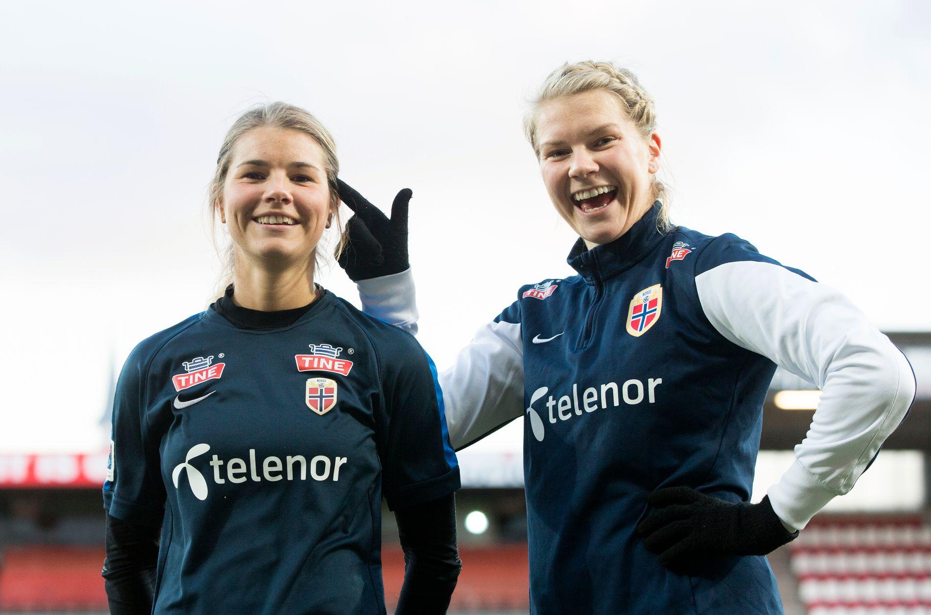 MØTES: Andrine Hegerberg (t.v.) og Ada Hegerberg møtes til en norsk duell i Frankrike.