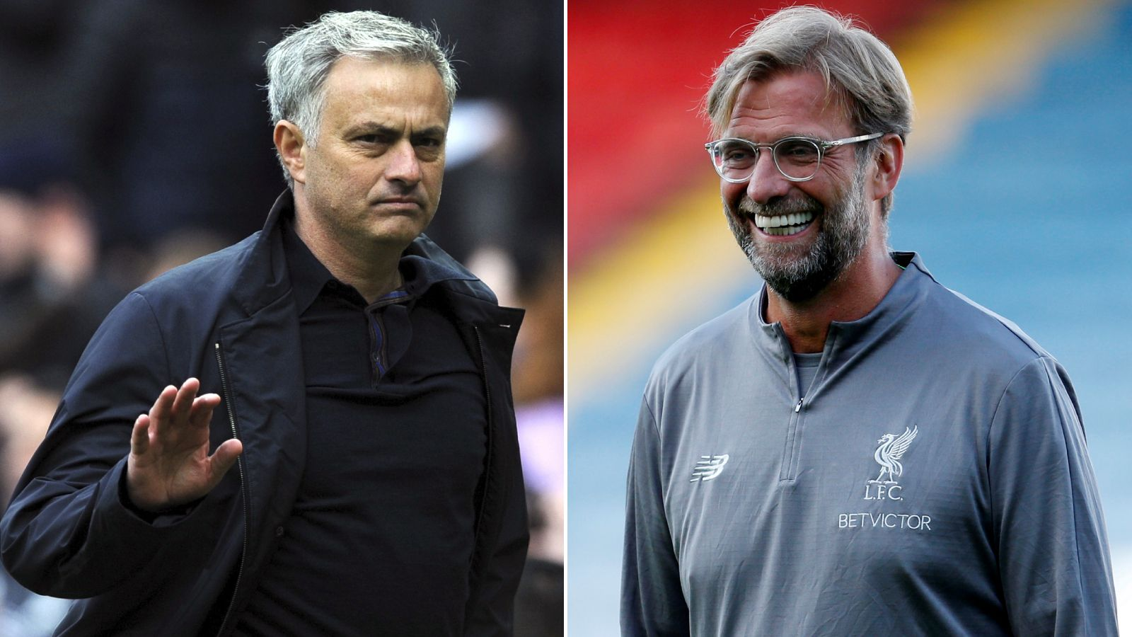 SMIL, DU HAR GJORT EN GOD DEAL! Det gjelder vel kanskje mest for Jürgen Klopp (t.h.), og ikke like mye for José Mourinho (t.v.)