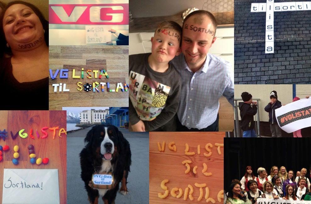 MANGE BIDRAG: Hele Sortland engasjerte seg i konkurransen om å få VG-lista til byen. Her er noen av bidragene som er blitt delt i sosiale medier. Foto: Privat