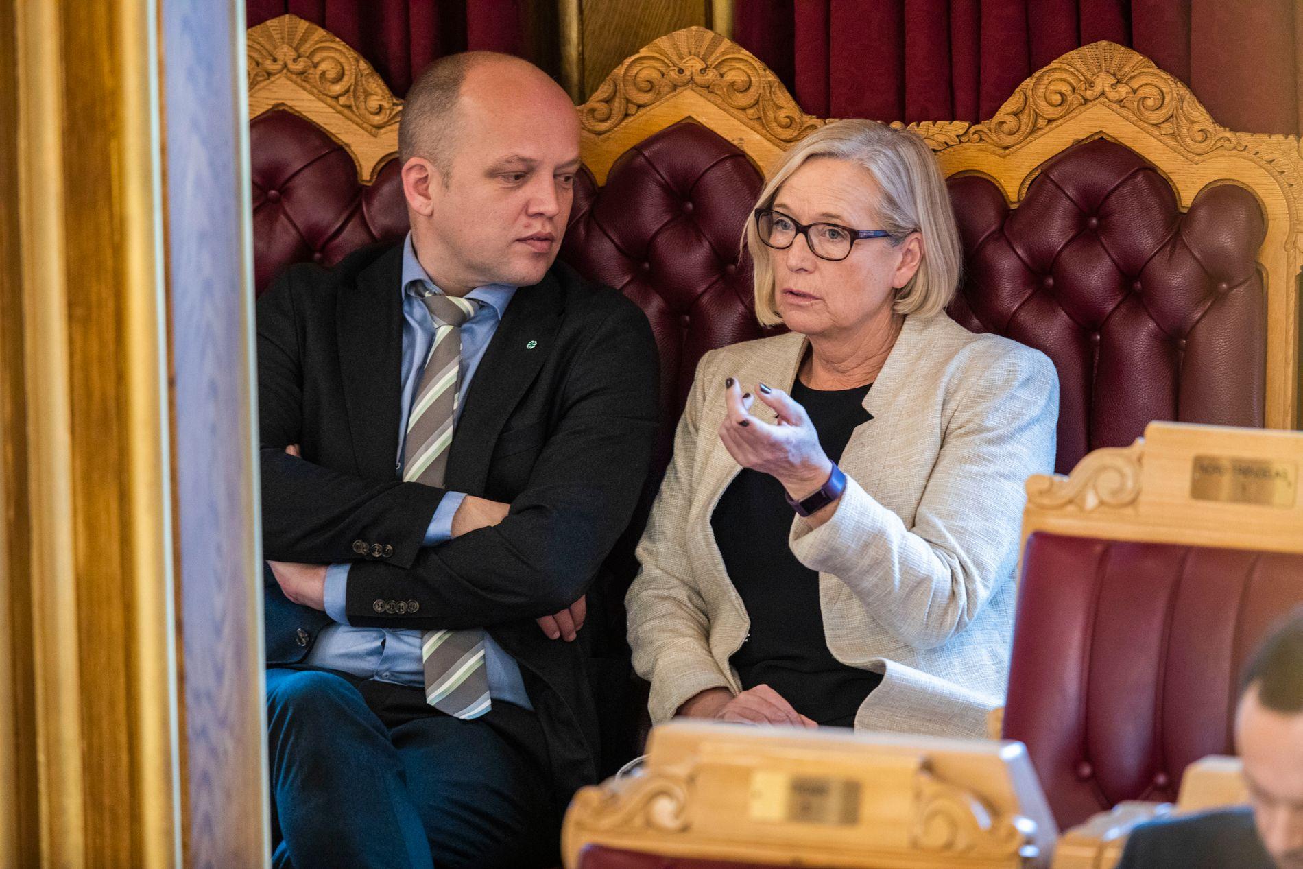 Senterpartiets leder Trygve Slagsvold Vedum og parlamentarisk leder i samme parti, Marit Arnstad, under Stortingets spørretime i slutten av november.