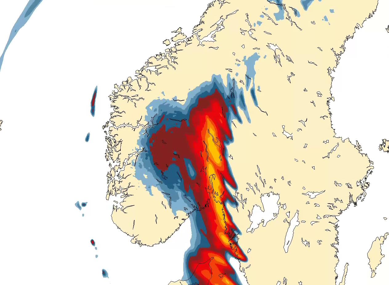 SØKKVÅTT: Det blir en regntung start på tirsdagen for østlendingene.