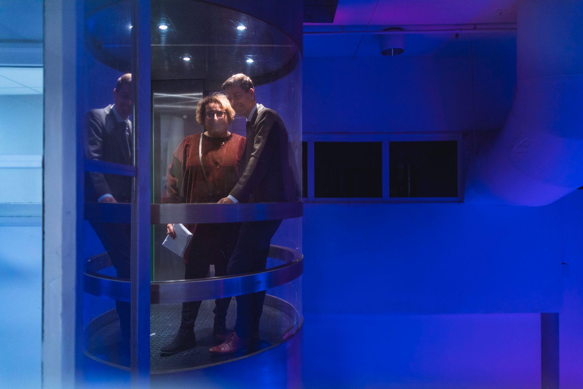 AVGJØRENDE: Lederne i KrF i heisen før det avgjørende møtet i Rogaland KrF der blå side stakk av med de fleste mandatene.