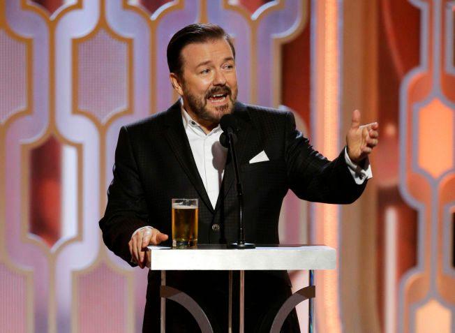 I GANG: Ricky Gervais i gang som programleder for Golden Globes natt til mandag.