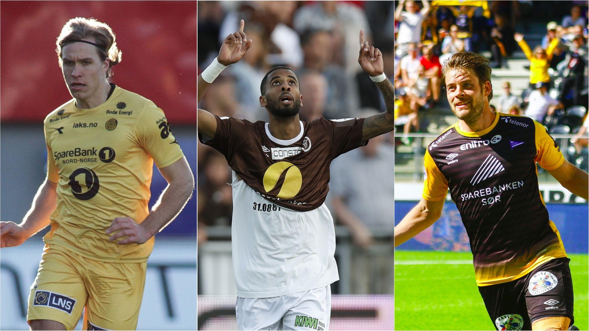 STEGET OPP? Bodø/Glimts Martin Bjørnbak, Mjøndalens Amahl Pellegrino og Starts Espen Børufsen nevnes som tre av de beste spillerne i OBOS-ligaen. Kanskje kan de ta steget opp i Eliteserien i sommer.