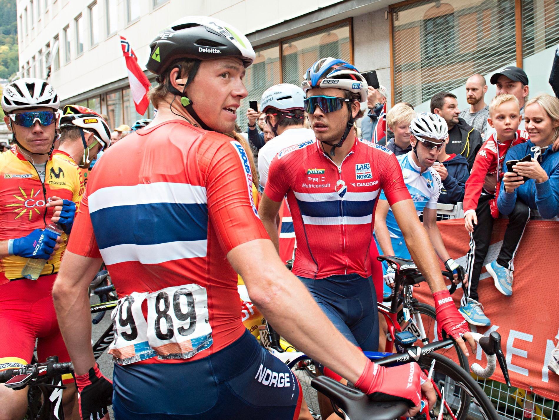 NORSK DAG? Edvald Boasson Hagen og Odd Christian Eiking, her fra VM i Bergen i 2017, kan begge finne på noe på den femte etappen.