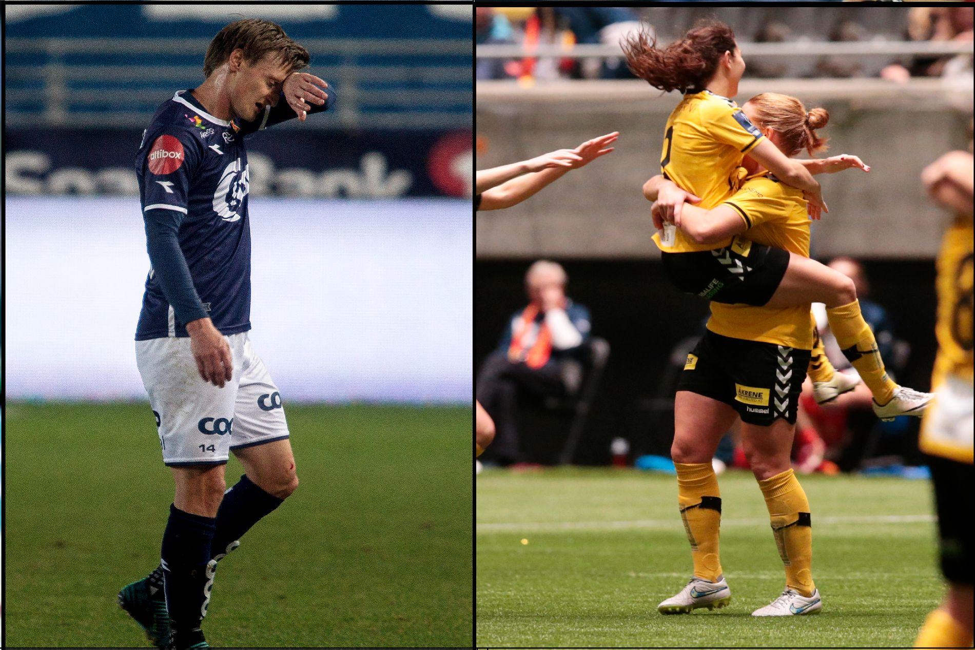 SORG OG JUBEL: Vikings André Danielsen rusler av banen etter å ha blitt utvist i 1-7-tapet mot Vålerenga den 22. oktober. Til høyre jubler LSK Kvinner-spillere for NM-gullet i 2016.