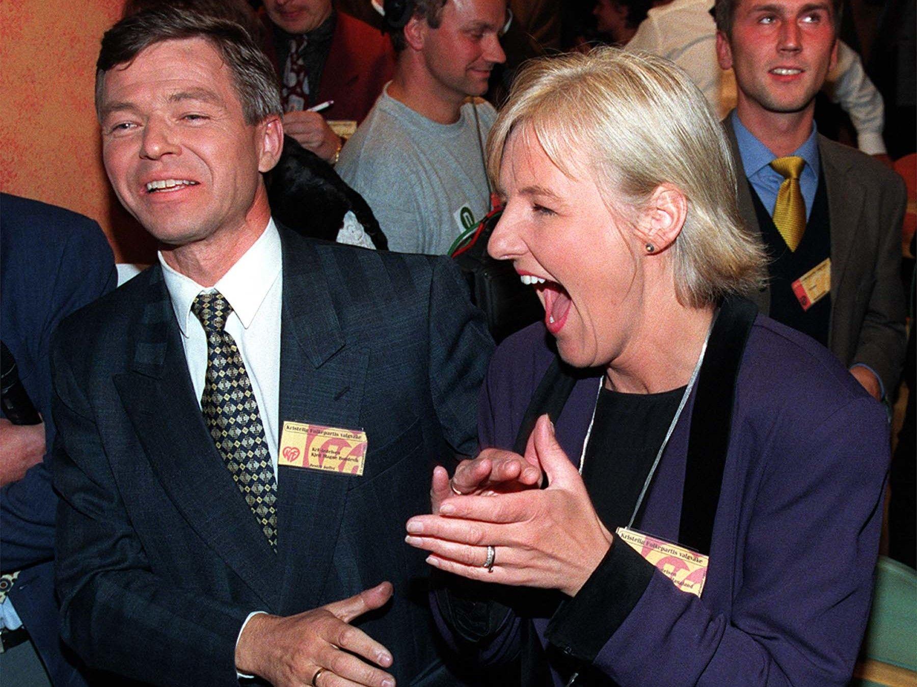 Valgerd Svarstad Haugland var KrF-leder da partiet ved stortingsvalget i 1997 fikk nesten 14 prosent oppslutning. Her med Kjell Magne Bondevik, statsminister i to KrF-ledede regjeringer.