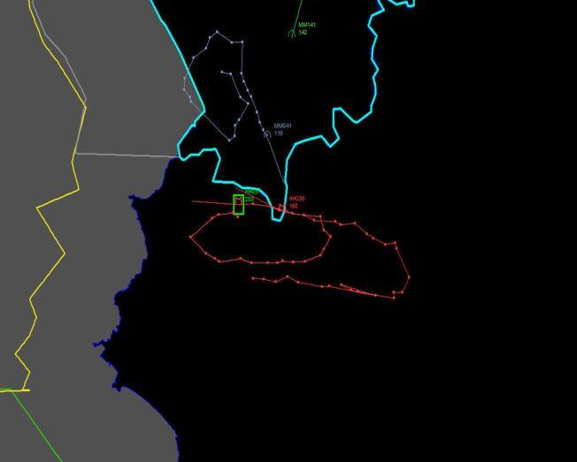 SISTE BEVEGELSER: Dette kartet, offentliggjort av det tyrkiske militæret, skal ifølge CNN Turk vise det russiske kampflyets bevegelser over Syria og, i et kort tidsrom også Tyrkia, før det ble skutt ned. Russiske myndigheter benekter at flyet var over Tyrkia.