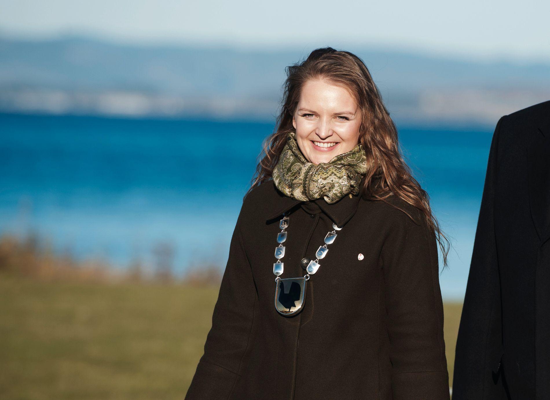 ORDFØRER: Ingrid Aune, her i forbindelse med besøk fra Kong Harald i Malvik i 2016.