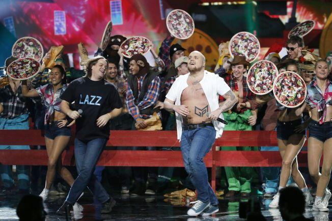 Melodi Grand Prix, finale. Generalprøve . Melodi 8: Staysman & Lazz - 'En godt stekt pizza» Foto:TROND SOLBERG/VG