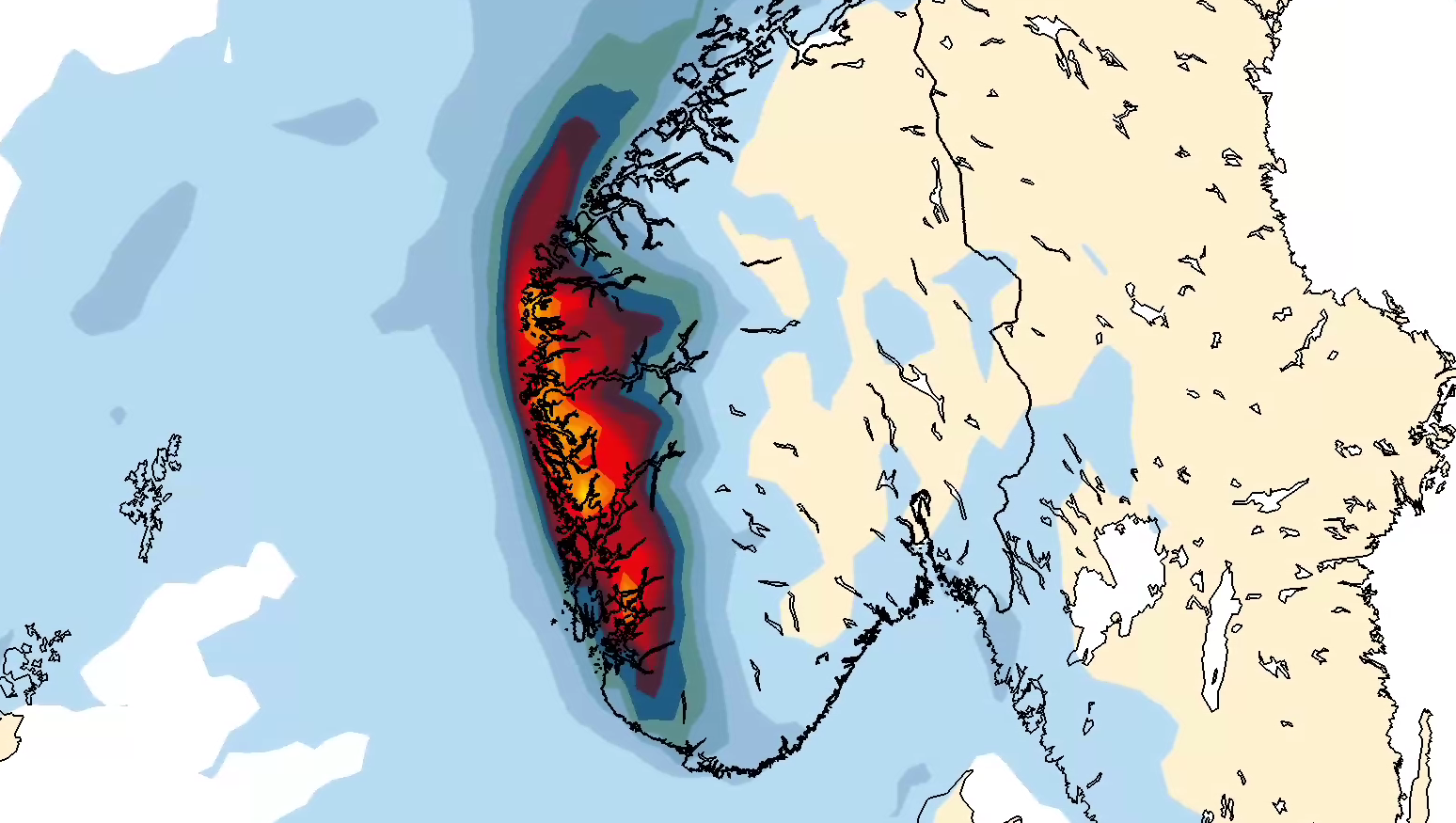 VÅTT, VÅTT, VÅTT: Nesten hele Vestlandet vil få mer enn 300 millimeter nedbør denne uken, viser prognosene. Dette kartet viser samlet nedbør over de syv kommende døgn.
