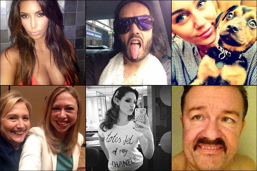 SELVBILDER: Mange kjendiser legger ut bilder de tar av seg selv med mobilkamera på steder som Instagram. Her er Kim Kardashian, Russel Brand, Miley Cyrus, Hillary og Chelsea Clinton, Kelly Brooke, og Ricky Gervaise. Foto: Wenn/AP