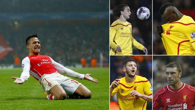 SUVEREN: Arsenals Alexis Sánchez har scoret flere mål enn alle Liverpools offensive sommerkjøp denne sesongen. Øverst fra venstre: Lazar Markovic, Mario Balotelli, Adam Lallana og Rickie Lambert.