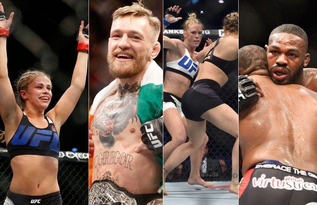 STORE STJERNER: Paige VanZant (t.v.), Conor McGregor, Holly Holm og Jon Jones er alle med på oversikten over de 12 største UFC-stjernene.