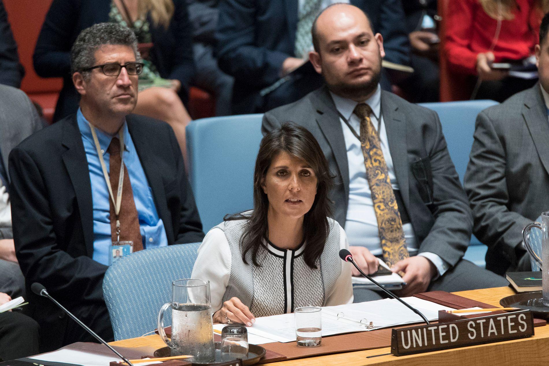 VETO: USAs FN-ambassadør Nikki Haley sier at det ikke er tvil om at USA vil stemme mot et resolusjon om beskyttelse av palestinerne.