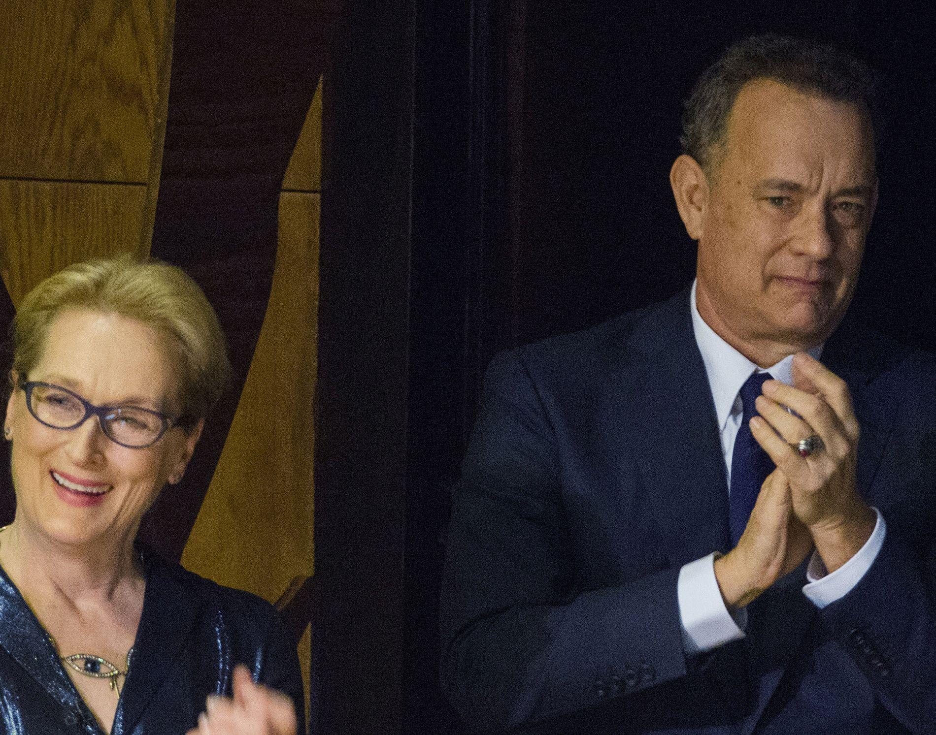 VETERANER: Meryl Streep og Tom Hanks, her på «An Evening of Serious Fun Celebrating the Legacy of Paul Newman» i New York i 2015.