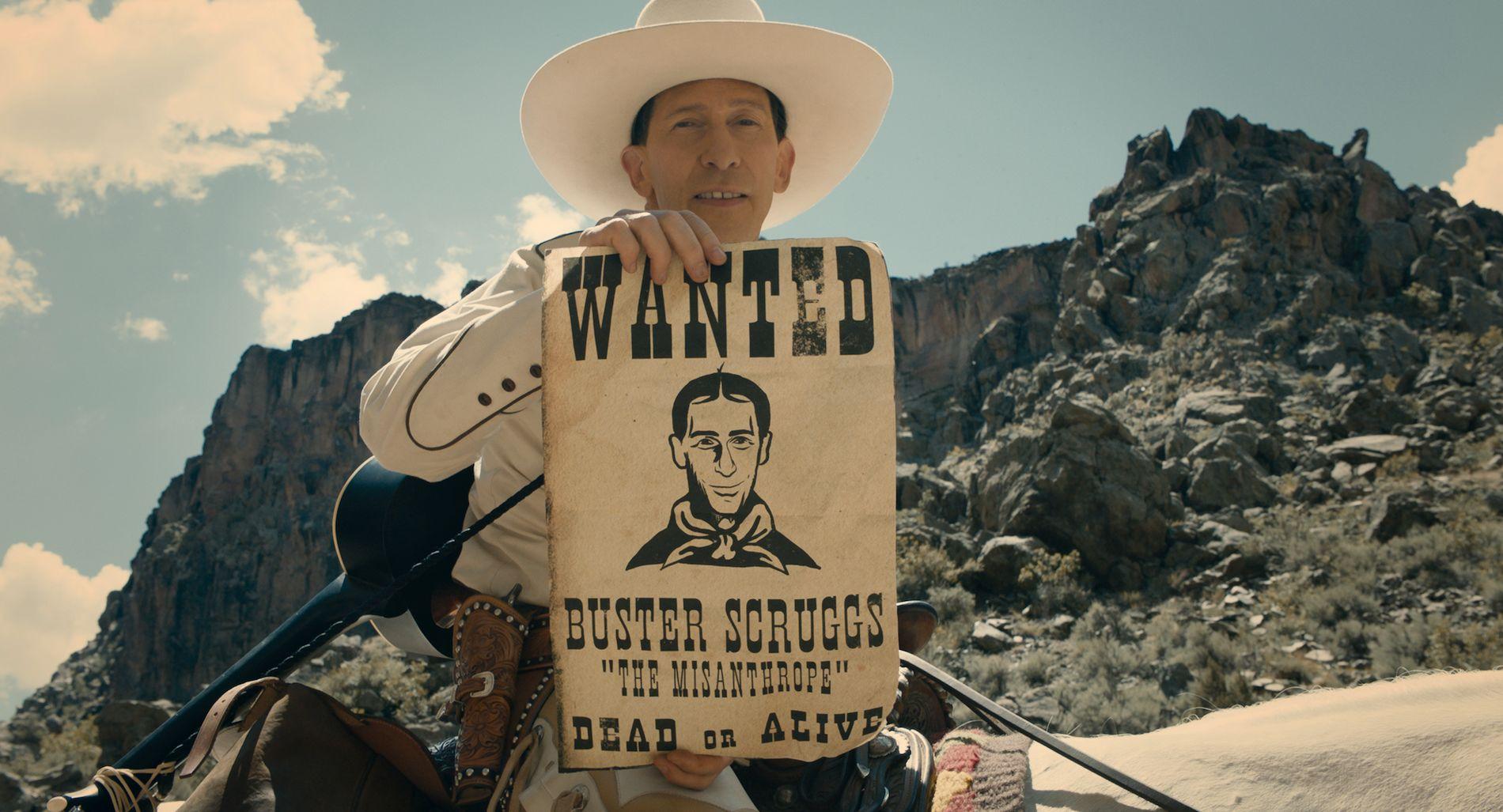 RIR, SYNGER OG SKYTER:  Buster Scruggs, spilt av Tim Blake Nelson i «The Ballad of Buster Scruggs», Coen-brødrenes nye antologifilm.