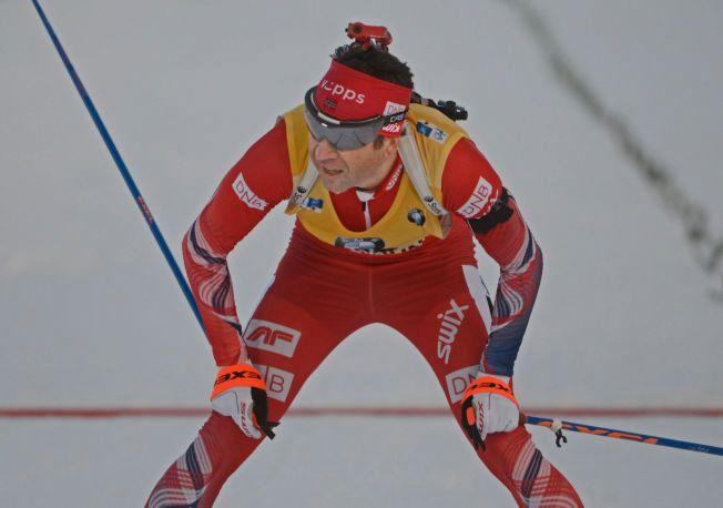 PÅ PALLEN - IGJEN: Her går Ole Einar Bjørndalen over mål og tar 3. plassen på sprinten.
