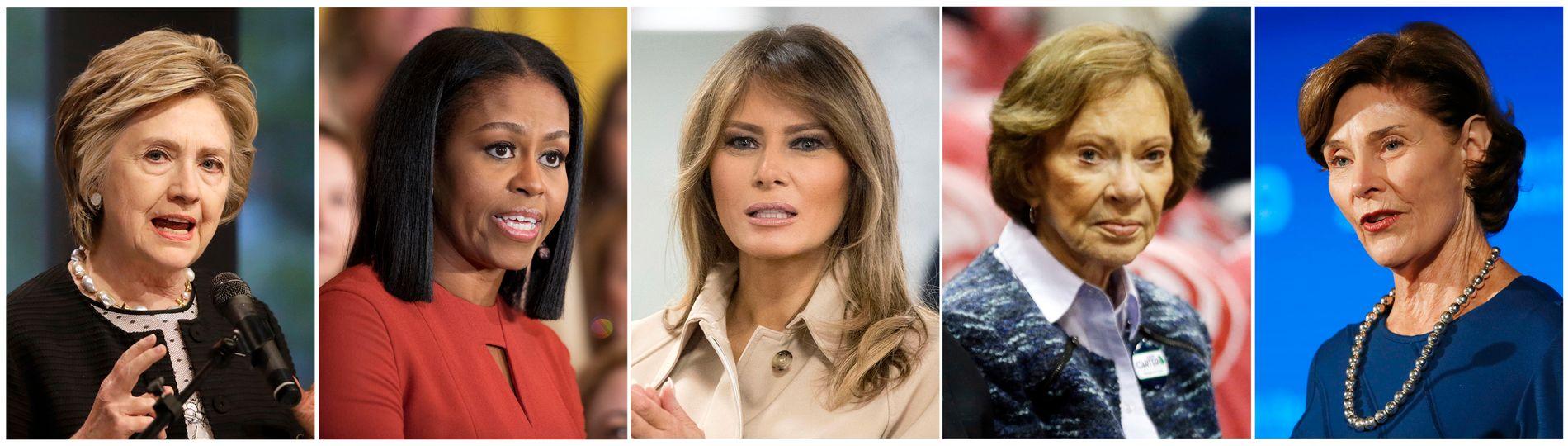 USAs førstedame Melania Trump (i midten) får følge av de fire tidligere førstedamene Hillary Clinton, Michelle Obama, Rosalynn Carter og Laura Bush i sin kritikk av praksisen med å skille barn fra foreldrene på grensa til Mexico og internere dem.