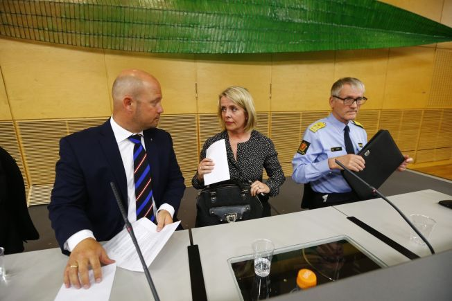 WARNED: (From left to right): Anders Anundsen, Minister of Justice and Public Security, Benedicte Bjornland, head of PST, and Vidar Refvik, head of the Norwegian police, during the press conference Thursday morning.
