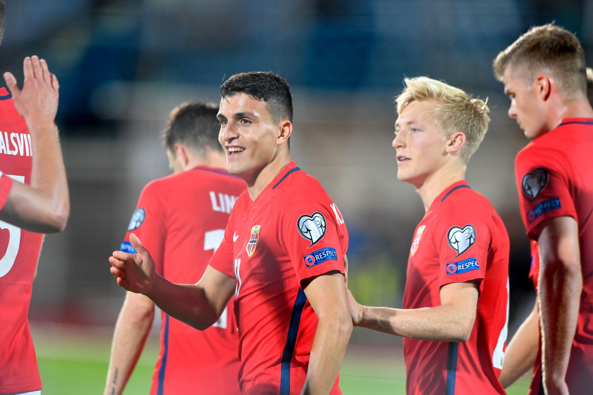 «MOI» BIEN: Mohamed Elyounoussi, her fra 8–0-seiren over San Marino da han scoret tre mål, følges av noen av Europas aller største klubber.