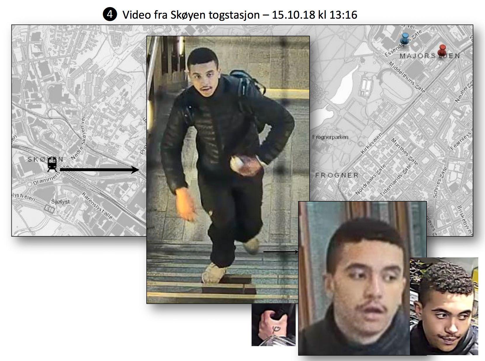 PÅ SKØYEN: Her er mannen politiet mener drepte Heikki Bjørklund Paltto (24) avbildet på Skøyen stasjon.