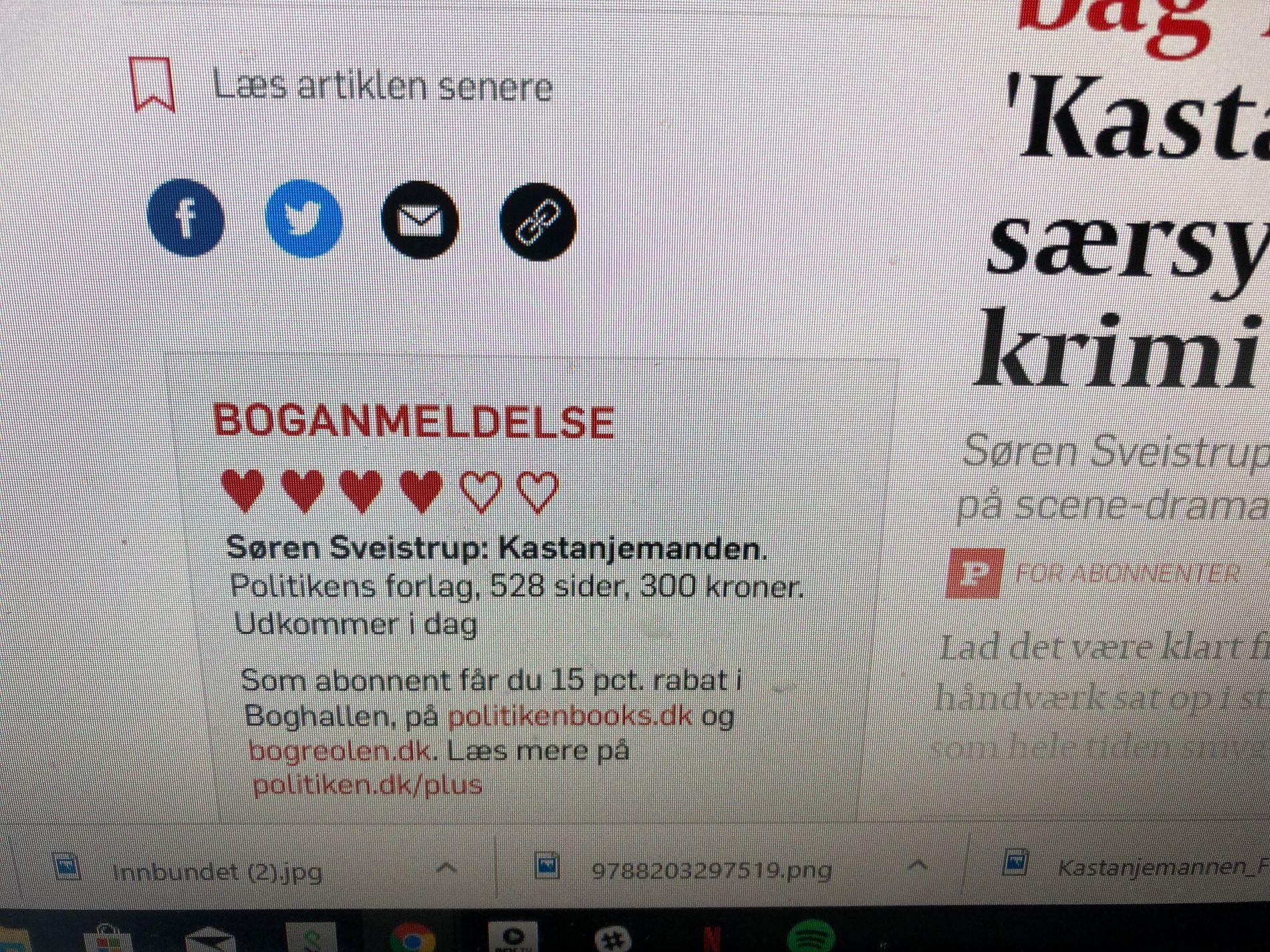 FIRE HJERTER: Ifølge Gyldendal ga Politiken seks hjerter til «Kastanjemannen», men anmelderen ga egentlig bare fire.