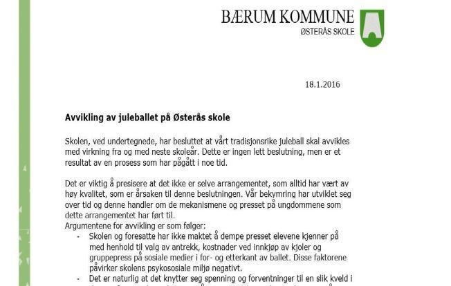 STOPPET: Det er slutt på juleball på ungdomsskolen på Østerås i Bærum.