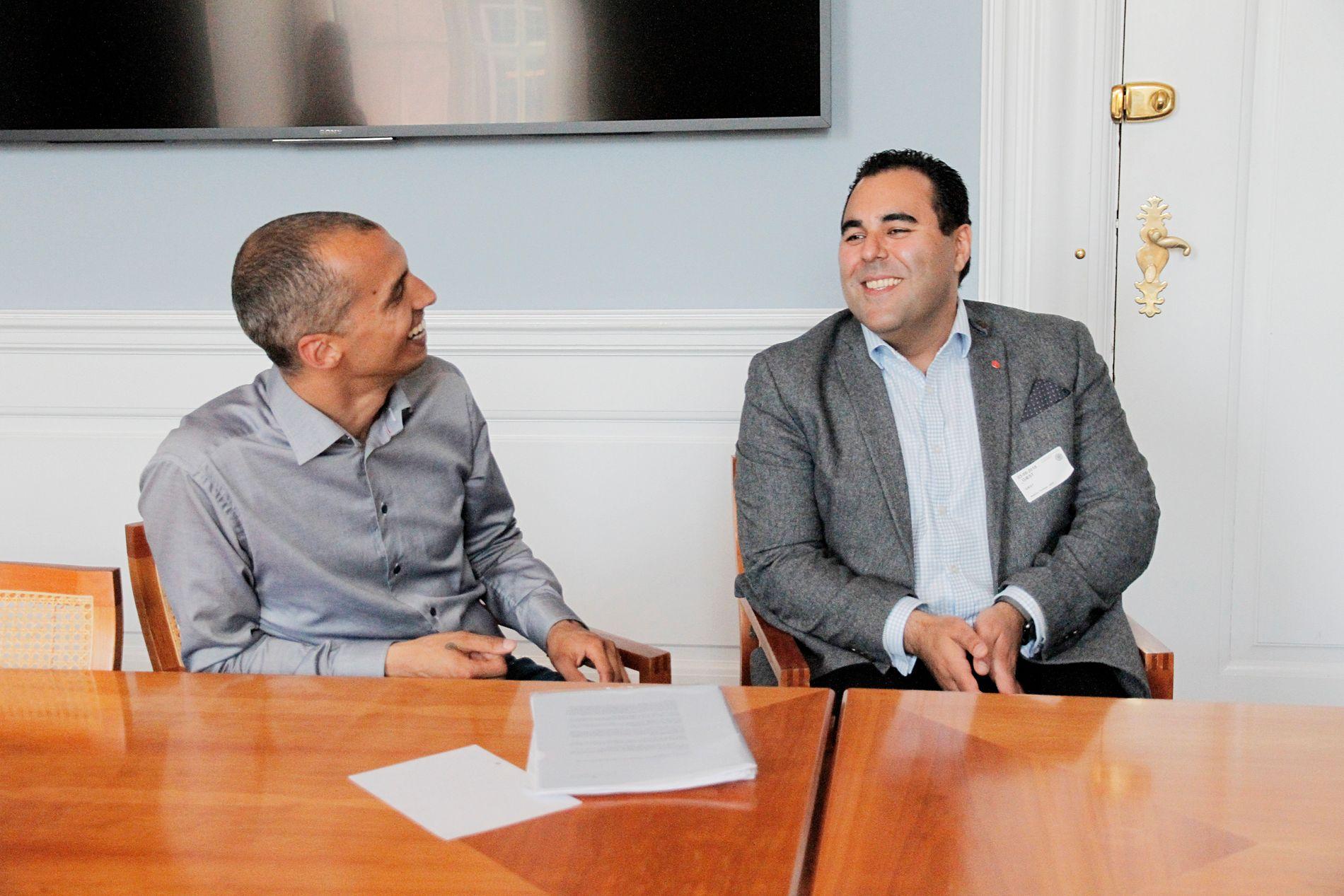 KOLLEGER: Innvandringspolitisk talsperson Masud Gharahkhani (Ap), og innvandringspolitisk talsperson Mattias Tesfaye (Sosialcemokratene).