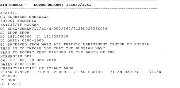 TIL PILOTER: Denne meldingen ble sendt ut til piloter for å sørge for at sivile fly navigerer rundt området Russland ville øve i.