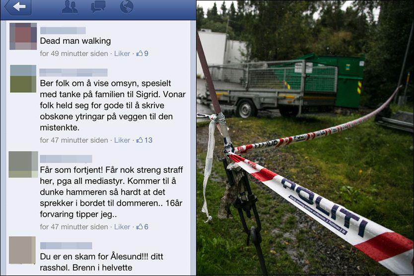 HATMELDINGER: Facebook-profilen til den 37 år gamle mannen som er siktet i Sigrid-saken, er nå sperret. Foto: VG/NTB Scanpix
