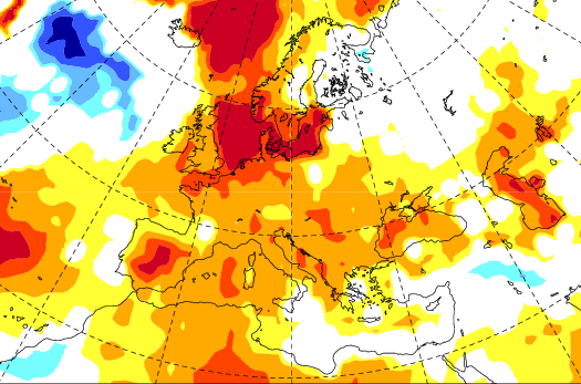 VARMT I NORDSJØEN: Det europeiske værsenteret har varme i Nordsjøen og i Norskehavet, og mildt signal i områdene rundt.