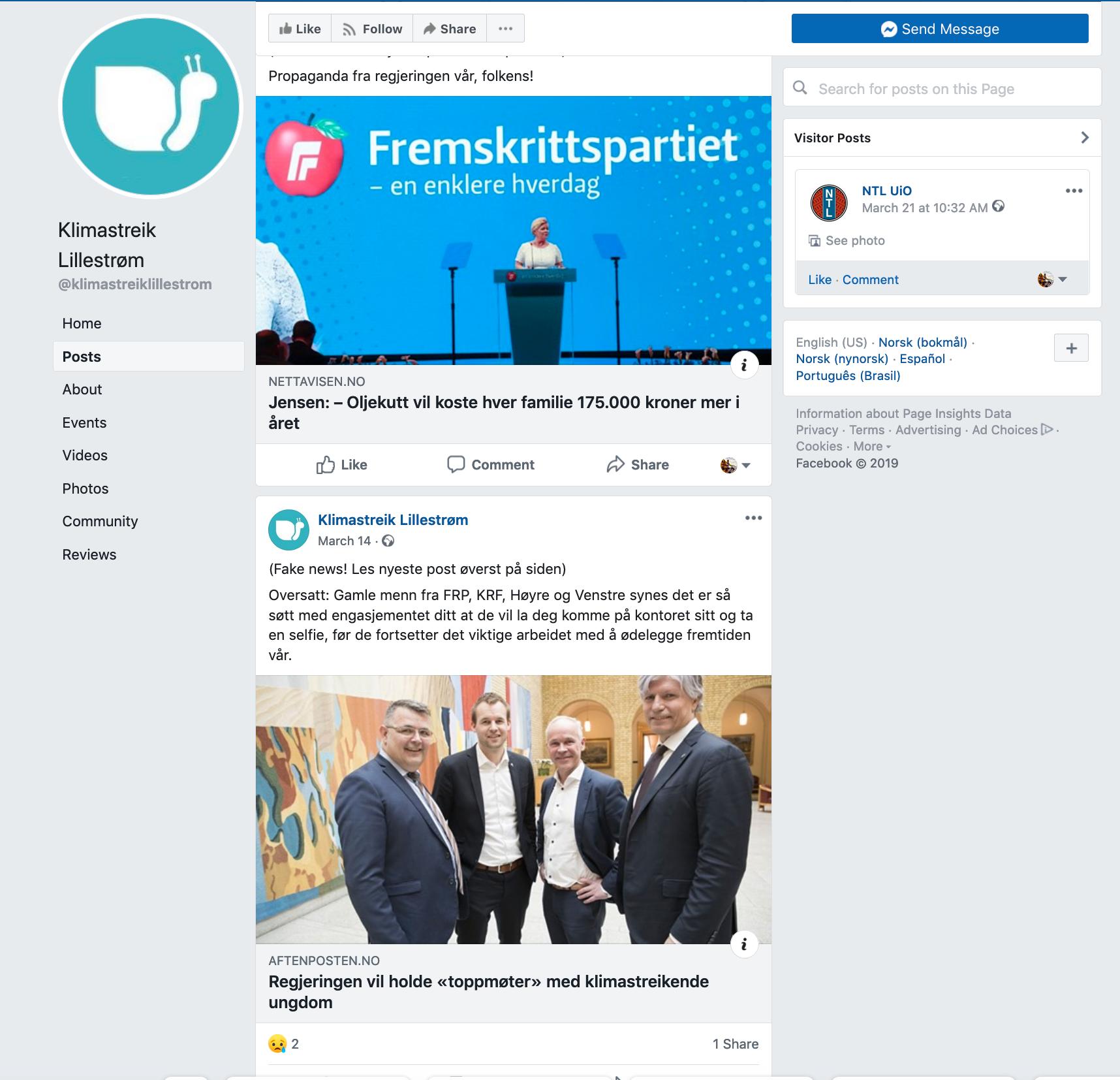 FALSK SIDE: Denne Facebook-siden er bare en av flere kanaler Folkeopplysningen prøvde å manipulere elevene gjennom.