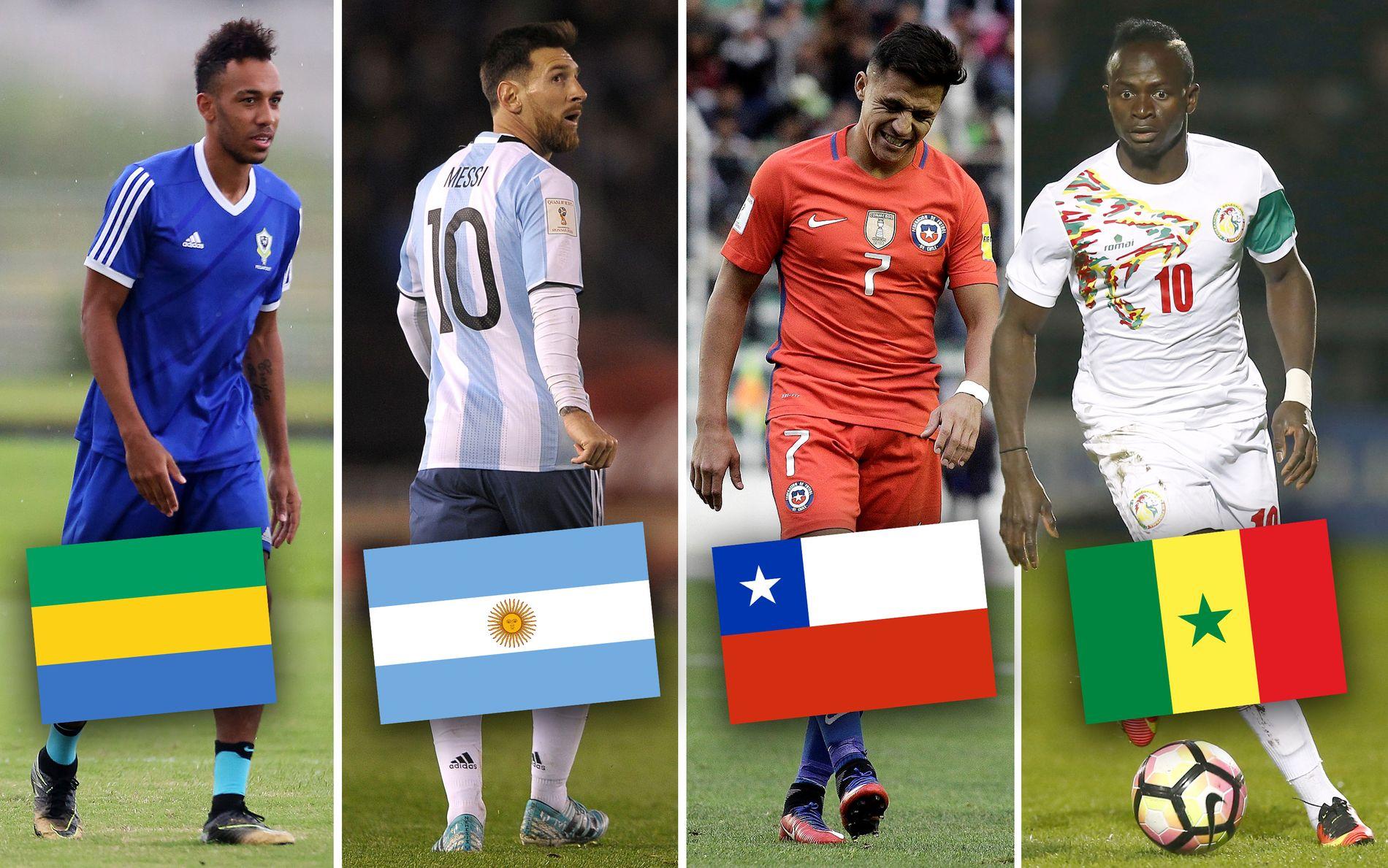 BITER NEGLER: Hverken Gabon (f.v. Pierre-Emerick Aubameyang), Argentina (Lionel Messi), Chile (Alexis Sánchez) eller Senegal (Sadio Mané) er sikret plass i neste års VM.