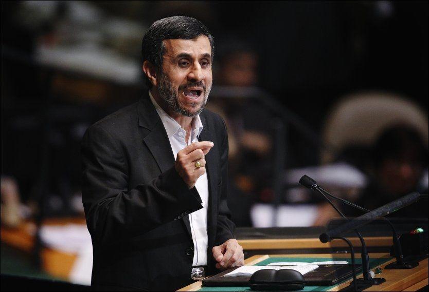 PÅ TALERSTOLEN: President Mahmoud Ahmadinejad kritiserte Vesten i talen sin i dag. Foto: Reuters/NTB Scanpix