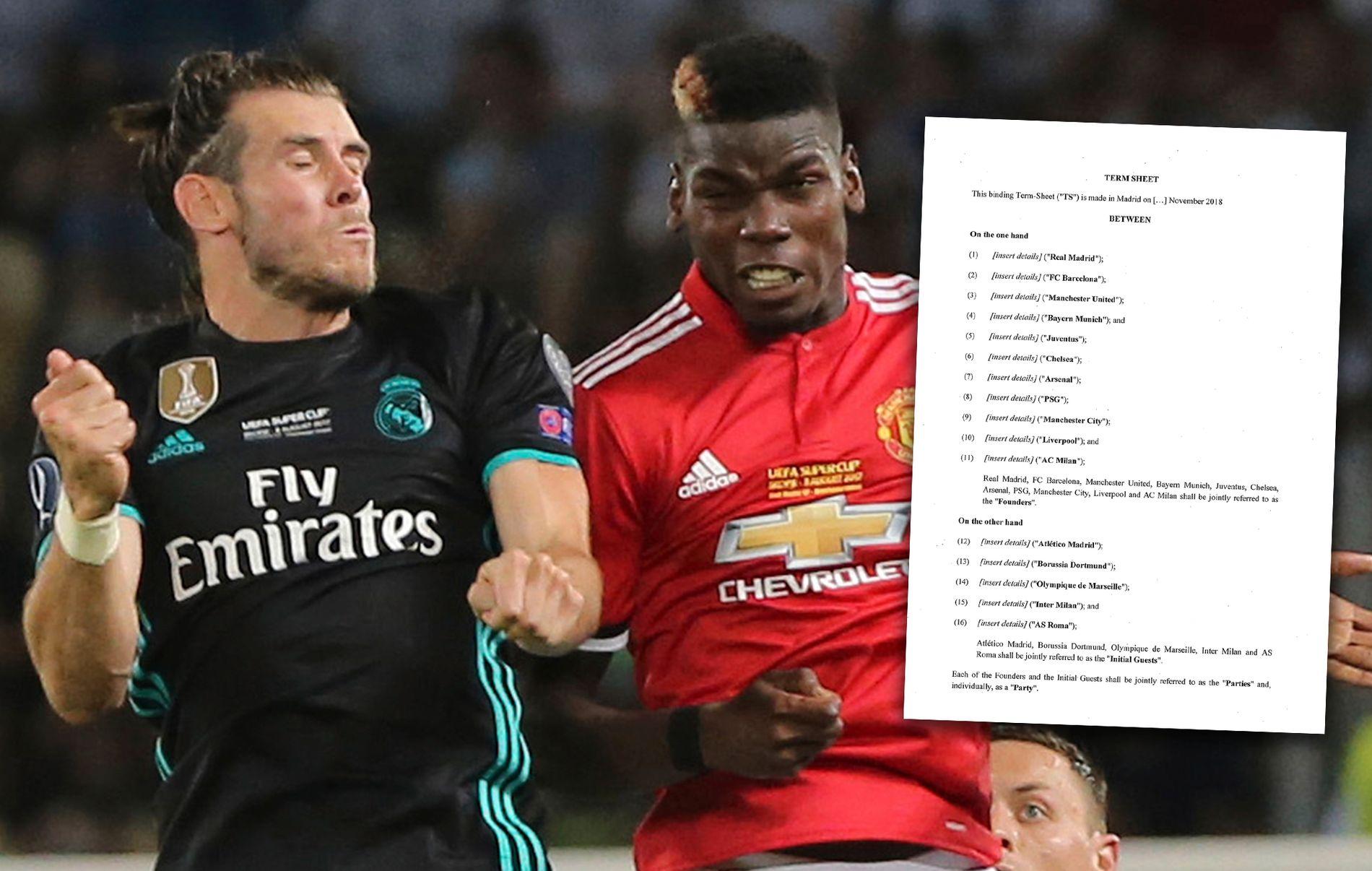 CHAMPIONS LEAGUE TRUET? Gareth Bale og Paul Pogba (t.h.) spiller begge for klubber som er navngitt på det som virker å være et avtaleutkast til en ny europeisk superliga.