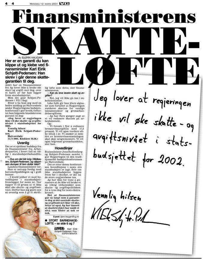 SKRIFTLIG LØFTE: Faksimile, VG 12. mars 2001.