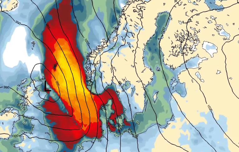 STORMFULL HELG: Søndag vil vinden dreie mot sørøst, og det vil gi sterk vind i fjellet og kraftige vindkast ut fjorder og daler på Vestlandet.