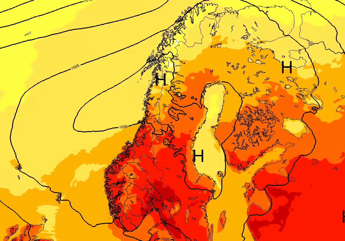 HETT BLIR ENDA HETERE: Varmen fra sørlige Europa og Afrika vil bre seg ut over Sør-Norge og gi hetebølge som kan toppe seg først torsdag i neste uke.