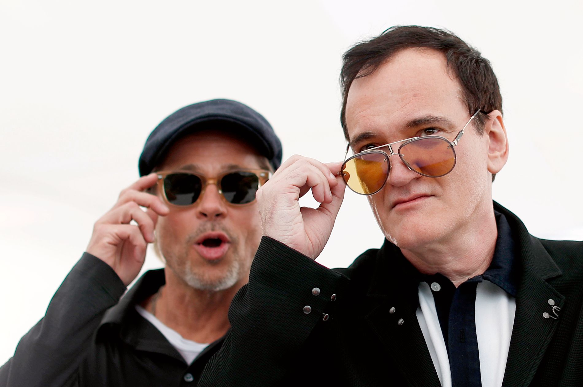 KOLLEGER: Brad Pitt og Quentin Tarantino i Cannes 22. mai.