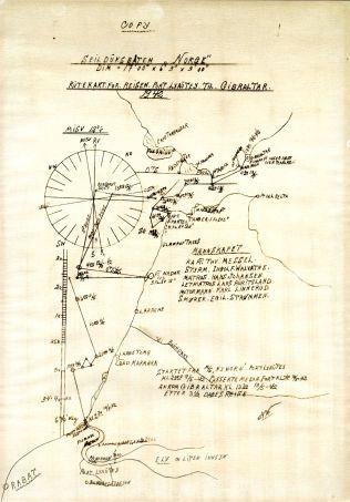 REISERUTEN: En av sjømennene har rekonstruert seilasen og tegnet dette kartet.